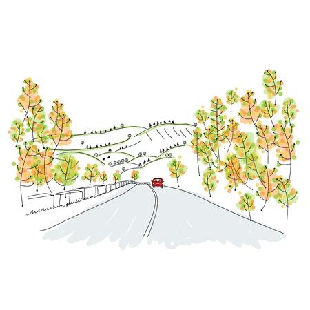 Photo pour Red car on country road, sketch for your design - image libre de droit