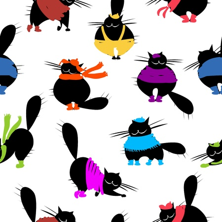 Fashion cats, seamless pattern for your design