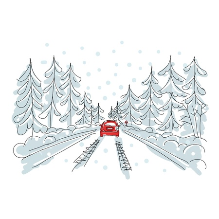 Photo pour Red car on winter road, sketch for your design  - image libre de droit