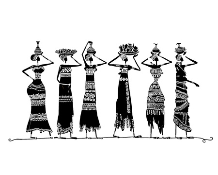 Illustration for Sketch of ethnic women with jugs for your design - Royalty Free Image