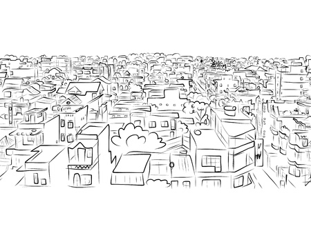 Illustration pour Cityscape sketch, seamless pattern for your design - image libre de droit