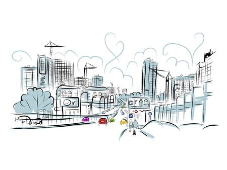 Ilustración de Sketch of traffic road in city - Imagen libre de derechos