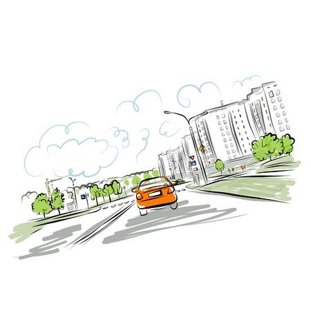Ilustración de Car on the city road - Imagen libre de derechos