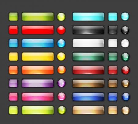 Ilustración de Set of glossy button icons for your design - Imagen libre de derechos