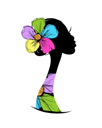 Illustration pour Female head silhouette for your design - image libre de droit