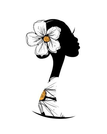 Ilustración de Female head silhouette for your design - Imagen libre de derechos