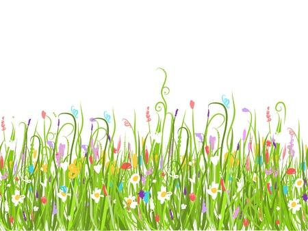 Illustration pour Green meadow, seamless pattern for your design - image libre de droit