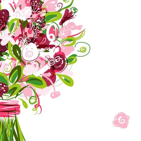 Ilustración de Floral postcard with place for your text - Imagen libre de derechos
