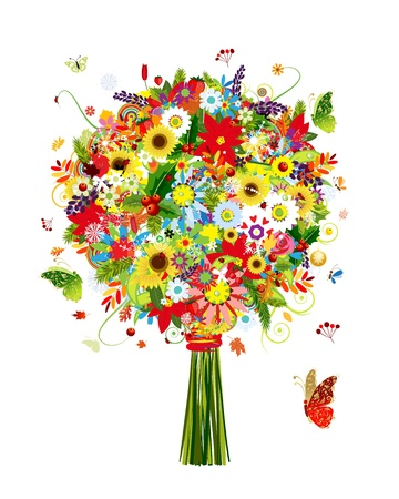 Illustration for Four seasons bouquet with leaf and flowers for your design - Royalty Free Image