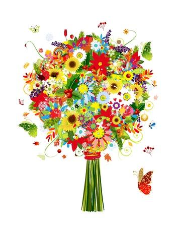 Ilustración de Four seasons bouquet with leaf and flowers for your design - Imagen libre de derechos