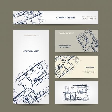Illustration pour Sketch of apartment. Business cards for your design. - image libre de droit