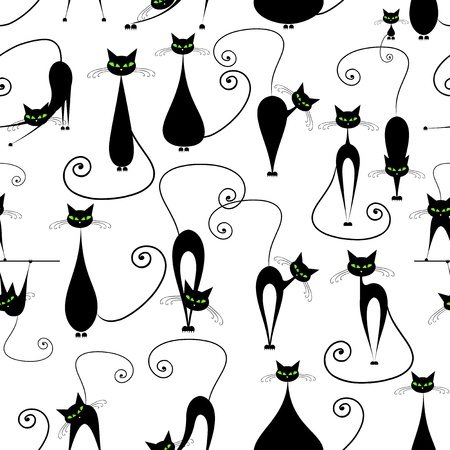 Photo for Black cats, seamless pattern for your design - Royalty Free Image