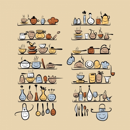 Illustration pour Kitchen utensils characters on shelves, sketch drawing for your design - image libre de droit