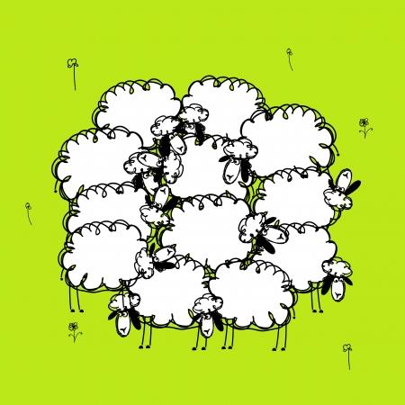 Ilustración de Funny sheeps on meadow, sketch for your design - Imagen libre de derechos