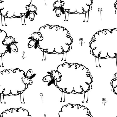 Ilustración de Funny sheeps on meadow, seamless pattern for your design - Imagen libre de derechos