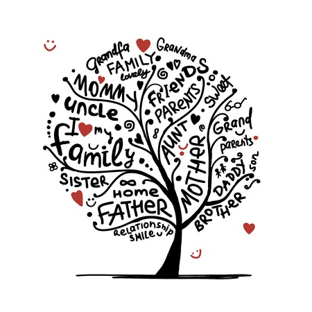 Foto de Family tree sketch for your design - Imagen libre de derechos