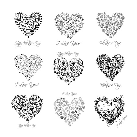 Ilustración de Set of valentine hearts for your design - Imagen libre de derechos