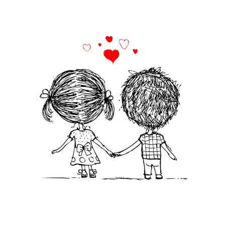 Illustration pour Couple in love together, valentine sketch for your design - image libre de droit