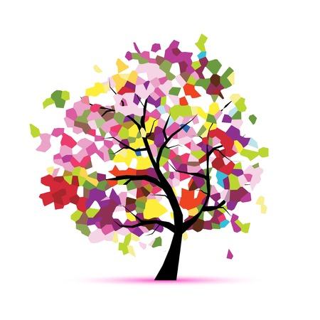 Illustration pour Abstract mosaic tree for your design - image libre de droit