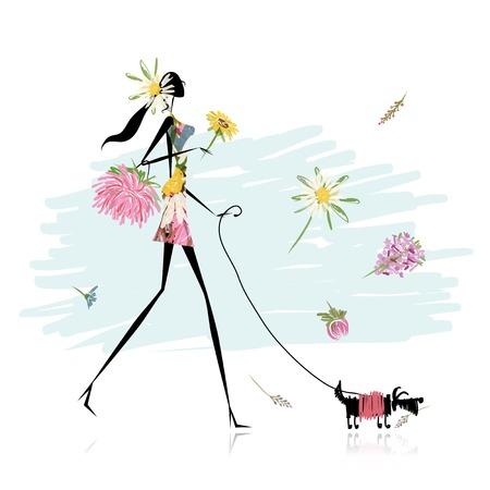 Ilustración de Floral girl walking with dog - Imagen libre de derechos