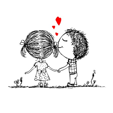 Foto für Couple in love together, valentine sketch for your design - Lizenzfreies Bild