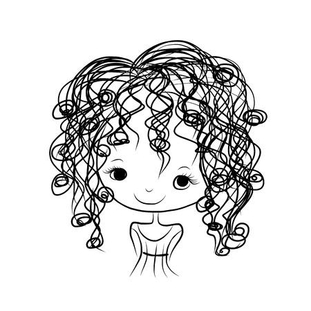 Ilustración de Cute girl smiling, sketch for your design - Imagen libre de derechos