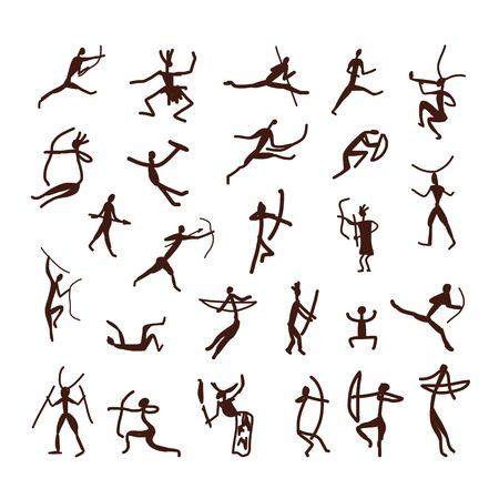Ilustración de Rock paintings, ethnic people sketch for your design - Imagen libre de derechos
