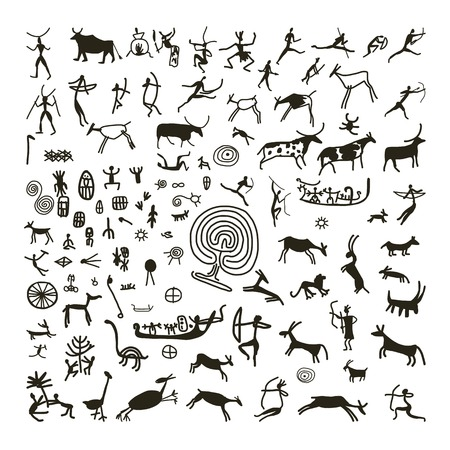 Ilustración de Rock paintings, sketch for your design - Imagen libre de derechos
