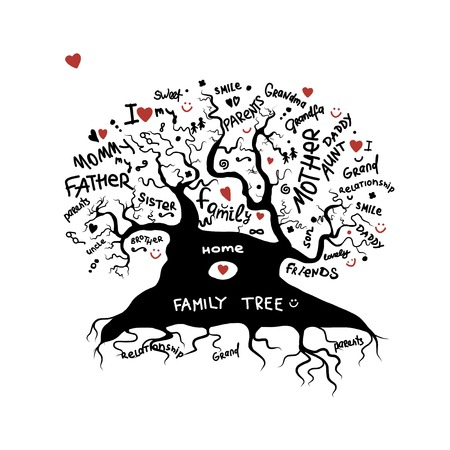 Illustration for Family tree sketch for your design - Royalty Free Image