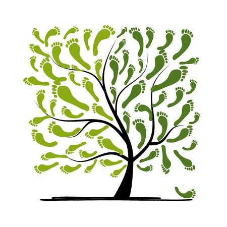 Ilustración de Green footprint tree for your design - Imagen libre de derechos