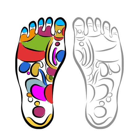 Ilustración de Foot massage reflexology, sketch for your design - Imagen libre de derechos