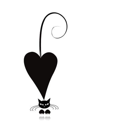 Ilustración de Cat in love, black silhouette for your design - Imagen libre de derechos