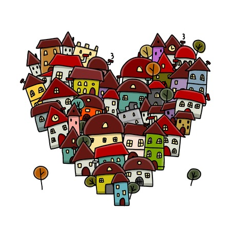 Ilustración de City of love, heart shape sketch for your design - Imagen libre de derechos