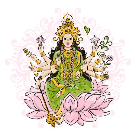 Ilustración de Indian goddess Shakti sketches  - Imagen libre de derechos