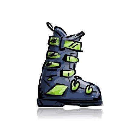 Ilustración de Ski boots, sketch for your design - Imagen libre de derechos