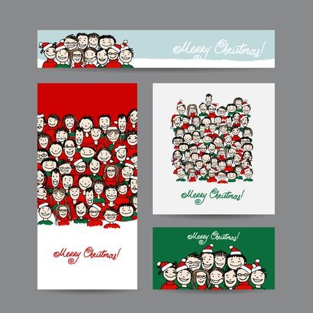 Illustration pour Christmas cards with people crowd for your design - image libre de droit