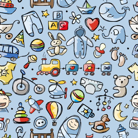 Illustration pour Toys for baby boy, seamless pattern for your design - image libre de droit