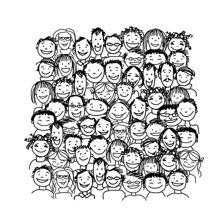 Illustration for Group of people, sketch for your design - Royalty Free Image