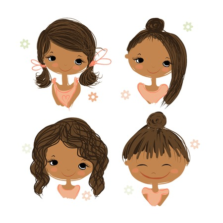 Ilustración de Cute girl smiling, sketch for your design, vector illustration - Imagen libre de derechos