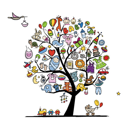 Illustration pour Art tree with baby toys for your design. Vector illustration - image libre de droit