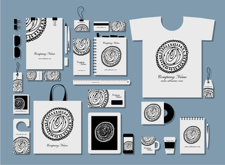 Illustration for Corporate flat identity mock-up template for your design. Vector illustration - Royalty Free Image