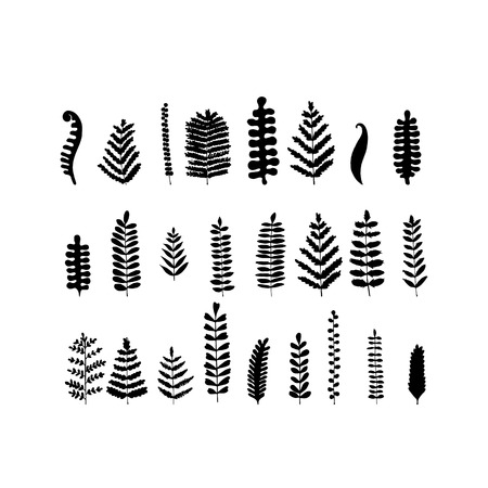 Ilustración de Leaf set, sketch for your design. Vector illustration - Imagen libre de derechos
