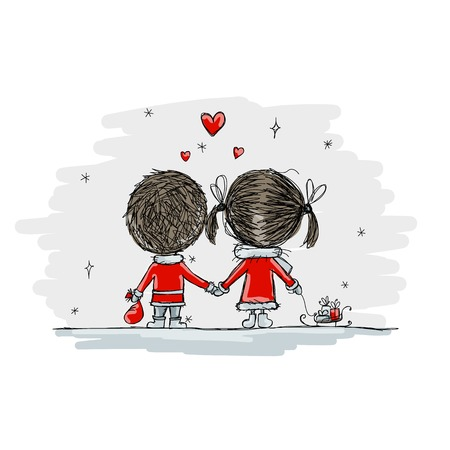 Illustration pour Couple in love together, christmas illustration for your design, vector - image libre de droit