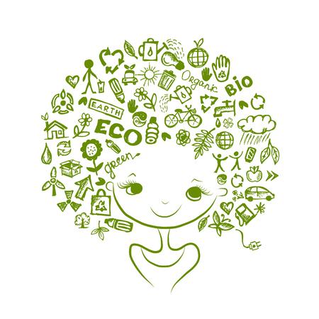 Illustration pour Ecology concept, female head for your design. Vector illustration - image libre de droit