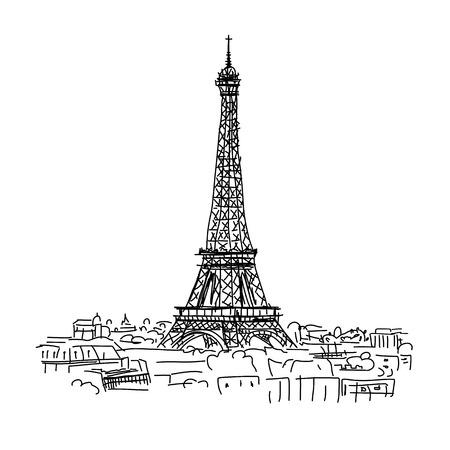 Ilustración de Paris,cityscape with Eifel Tower. Sketch for your design - Imagen libre de derechos