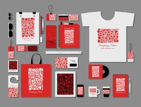 Illustration for Corporate flat mock-up template, floral design. Vector illustration - Royalty Free Image