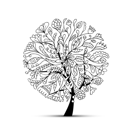 Illustration for Art tree beautiful for your design. Vector illustration - Royalty Free Image