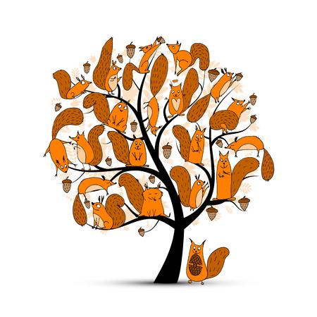 Illustration pour Funny squirrel family, art tree for your design. illustration - image libre de droit