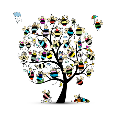 Illustration pour Art tree with family bees, sketch for your design. Vector illustration - image libre de droit