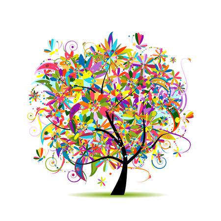 Ilustración de Floral tree for your design. Vector illustration - Imagen libre de derechos